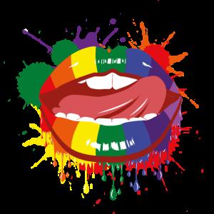 Mund Regenbogen Bunt Homo LGBTQ Zunge Geschenk