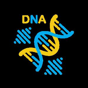 DNS DNA Strang Logo Blau Gelb