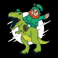 St Patricks Day Shirt Geschenk Kobold Irland Dino