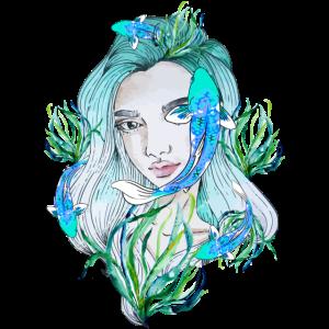Fische Mädchen Aquarell