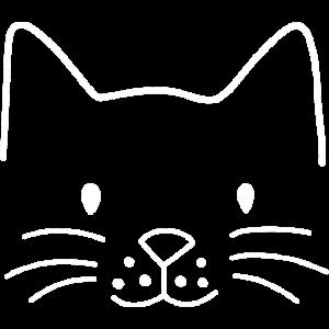 Minimalistisch Katze Gesicht Geschenk Katzen