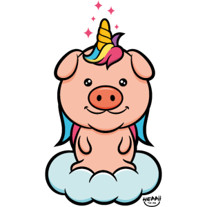 Schweinhorn Einhorn Pig Cute süß Ferkel auf Wolke