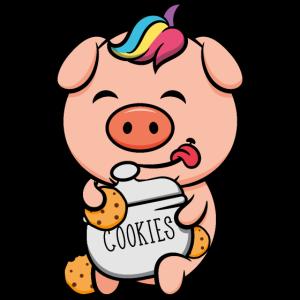 süßes Ferkel mit Cookies pink schwein pig geschenk