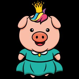 Schweinchen Prinzessin süßes Ferkel mit Krone