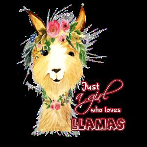 Just a Girl who loves Llamas - Lama Blumen Motiv