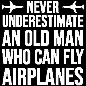 Alte Mann-Fliege Flugzeuge Pilot Grandpa Dad T-Shirt