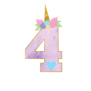 4.Geburtstag Einhorn Zahl 4 Jahre Mädchen Geschenk