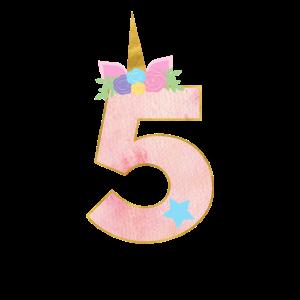 5.Geburtstag Einhorn Zahl 5 Jahre Mädchen Geschenk