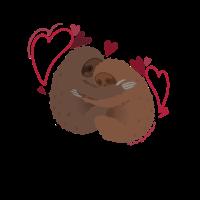 Faultiere mit Herz Umarmung Liebe Sloth