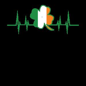 St. Patricks Day Herzschlag Heartbeat Kleeblatt