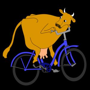 Kuh auf einem Rad
