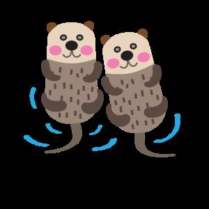 Zwei Otter im Wasser - Illustration - Geschenk