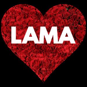 LAMA Herz mit Rosen - Llama alpaca Alpaka