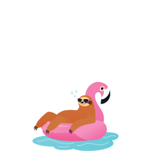 Life Is Better At The Lake, Sloth With Flamingo
