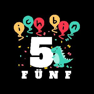Geburtstagsshirt 5 Jahre mit Dino und Luftballons