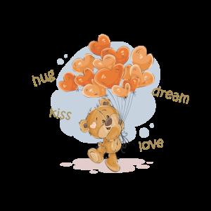 süsser Teddybär hug love kiss dream HerzLuftballon