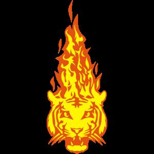Tigerkopf in Flamme Feuer Flamme 310