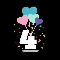 Geburtstag 4 Jahre alt mit Herzen
