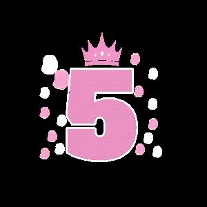 Geburtstag 5 Jahre Mädchen mit Krone in Rosa