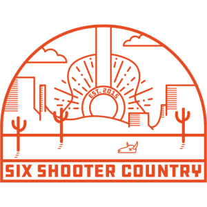 Sechs rote Shooter-Logo