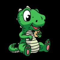 Kleiner Dino mit einen Keks Retro Vintage