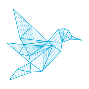 Origami bird linear / geometrisch, Kranich,