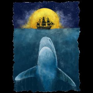 Weißer Hai Wal Ozean Meer Schiff Boot Surreal