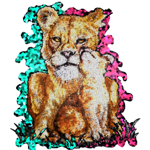 Löwenpärchen im Mosaik | Yolo-Artwork