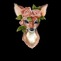 Reh mit Blumenkrone