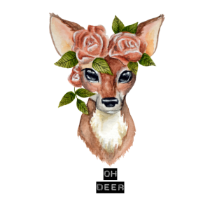 Oh deer - Reh mit Blumenkranz