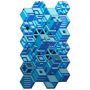 3D Blue Geometry Illusion