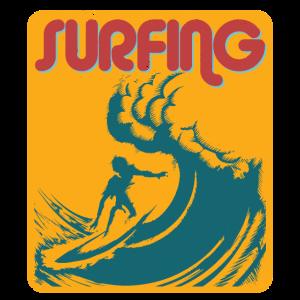 Surfing Strand Wellen Retro Style
