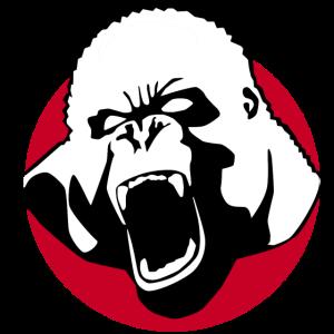 Gorilla auf rotem Punkt