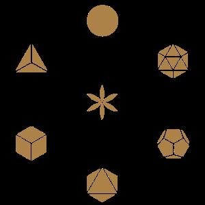 Metatrons Würfel, 23 Farben, Platonische Körper