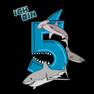 Geburtstagsshirt 5 Jahre Kinder Hai Haie weißer