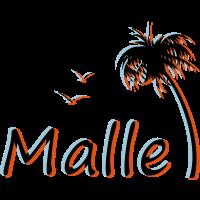 Malle - Mallorca - Urlaub mit Palme - 3D Effekt