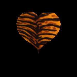 Tiger Leo Print Shirt Herz Heart Herzen Herzchen