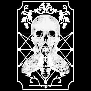 Totenkopf mit Motte Kreuz Gruftie Gothik Tod Grab