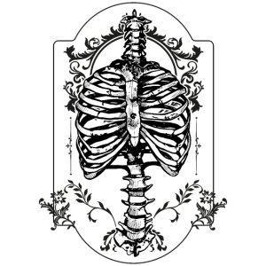 Brustkorb Skelett Gruftie Gothik Ornamente Grab