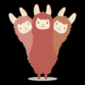 Dreifaches Lama Alpaka LLama Tierliebe Geschenk