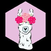 Lama mit Blumenkranz Alpaka LLama Tier Geschenk