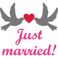 Just Married! Hochzeit Hochzeitsreise Brautpaar