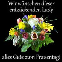 Glückwünsche zum Frauentag mit Blumenstrauß