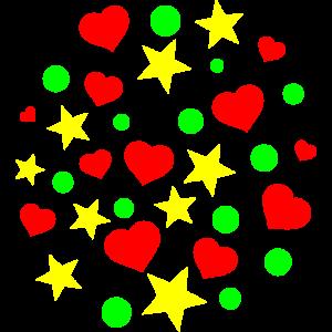 Hintergrund mit Sternen und Herzen, Kinder, Handy