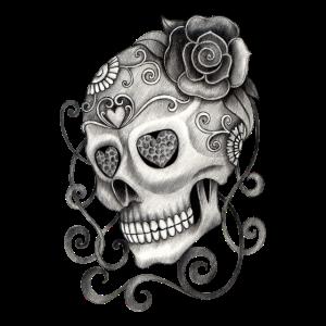 Totenkopf mit Rose Tattoo