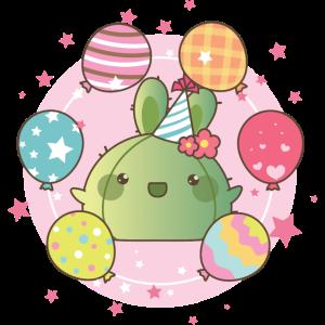 Kawaii Kaktus Geburtstag mit Ballons