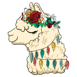 wunderschöne Lama Blumen Prinzessin - Alpaka Queen
