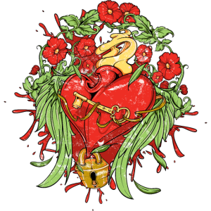 Herz mit Schloss, Vintage verwaschen Blumen
