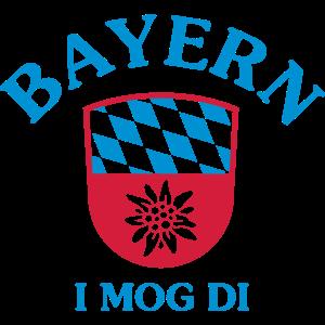 """BAYERN, I MOG DI"" WAPPEN MIT EDELWEISS"