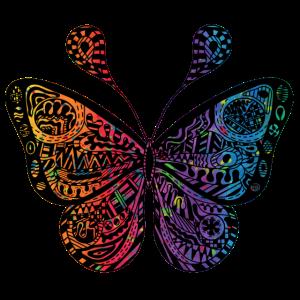 Schmetterling schwarz bunt Ornamente filigran